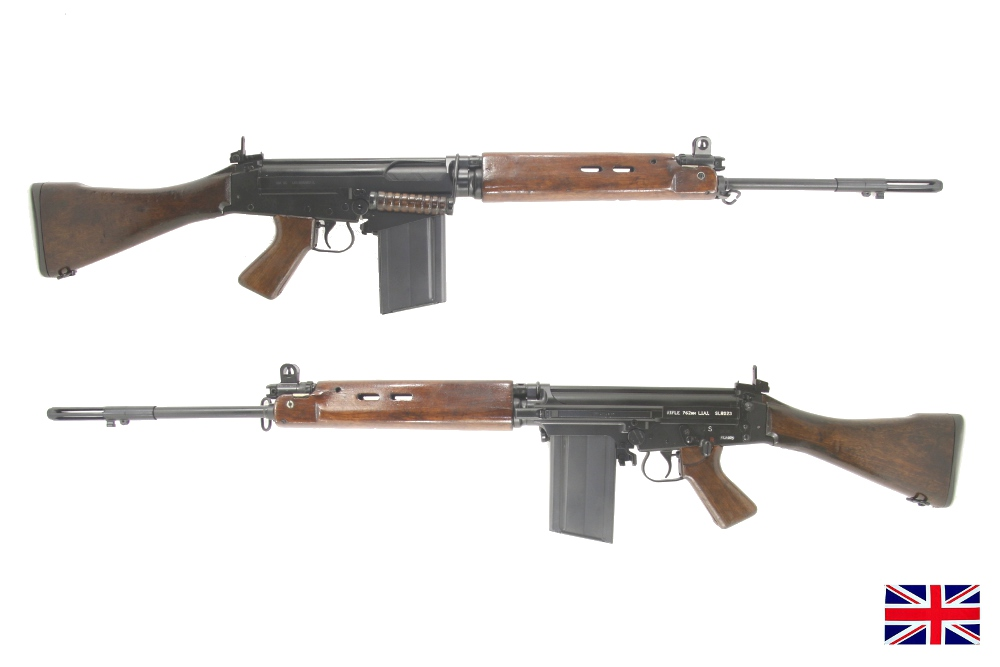 DSA UK pattern receiver with early British parts kit and solid wood handguards and wood carry handle