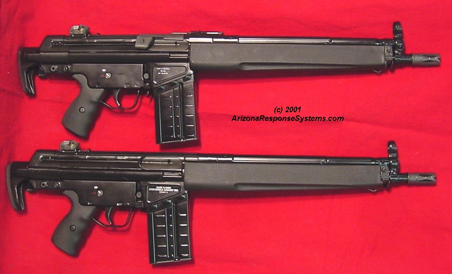 METACOL III™ Satin Black. An ARS modified HK 91k short barrel (top) and same conversion on a Greek SAR-3/8 (bottom)