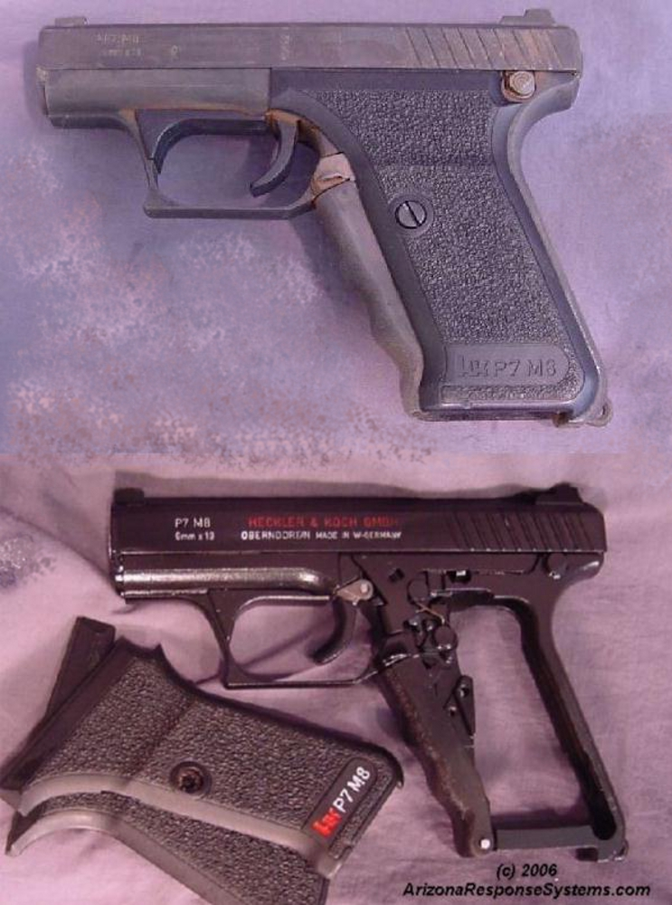 METACOL III™ Satin Black. Before and after of a rusty HK P7 M8, was recovered after Hurricane Katrina